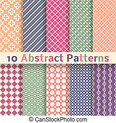 Retro abstract vector seamless patterns (tiling). - 10 Retro...