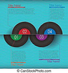 retro, abstratos, vinil, infographics