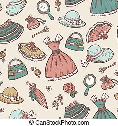 Retro accessories seamless pattern