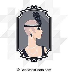 retro, achtergrond, met, mooi, meisje, van, 1920s, style.