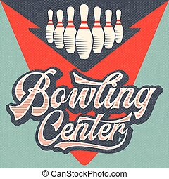 Retro advertising bowling poster. Vintage poster.