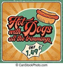 Retro advertising restaurant sign for hot dogs. Vintage poster.