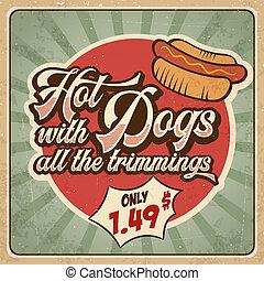 Retro advertising restaurant sign for hot dogs. Vintage...