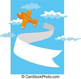 retro, aeroplano, vettore, illustration., banner.