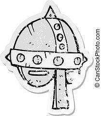 retro, afflitto, adesivo, di, uno, cartone animato, medievale, casco