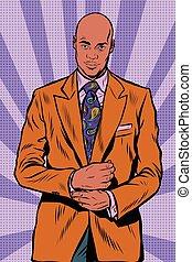 Retro African American businessman in elegant suit
