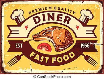 retro, agneau, bifteck, signe, dîneur