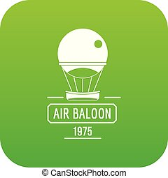 Retro air balloon icon green vector