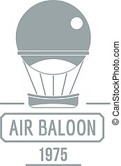 Retro air balloon logo, simple gray style