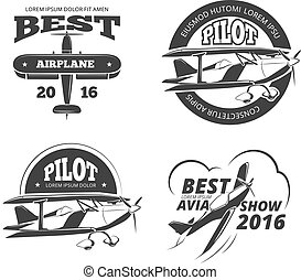 Retro airplane, aircraft vector labels set