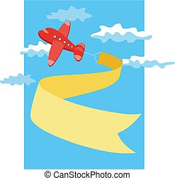 Retro airplane with a banner. Vector illustration.