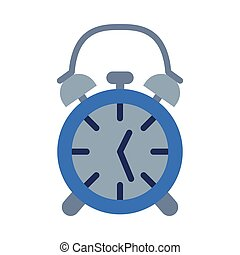 Retro Alarm clock Flat Style Vector Illustration on White Background