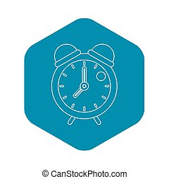 Retro alarm clock icon, outline style