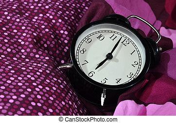 Retro alarm clock in the morning