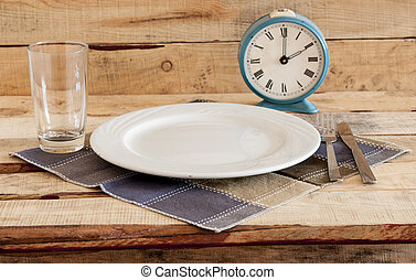 retro alarm clock on a plate - Meal time table place setting...