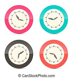 Retro Alarm Clock Set Illustration Isolated on White Background