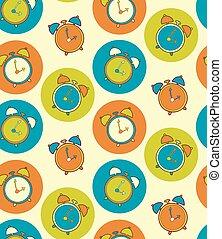 Retro alarm clock vector seamless pattern. Vintage watch background.