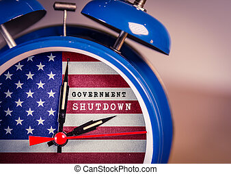 Retro alarm Clock with Government Shut Down text, and ...