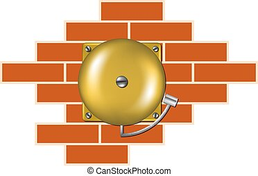 Retro alarm on the brick wall on white background