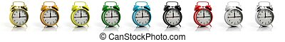 retro, alarm zegary, zbiór, w, rozmaitość, od, kolor, odizolowany, na białym, tło.