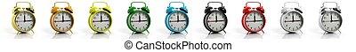 retro, alarmsein klokt, verzameling, in, variëteit, van, kleuren, vrijstaand, op wit, achtergrond.