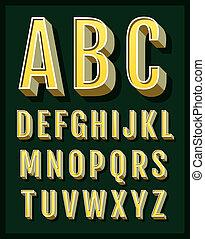 retro, alfabeto, fuente, vector, tipo