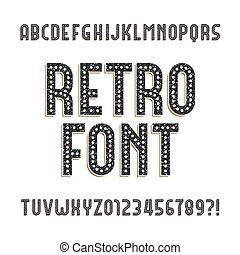 Retro alphabet font. Rough distressed letters and numbers...