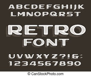 Retro alphabet font. Vintage letters and numbers. Stock ...