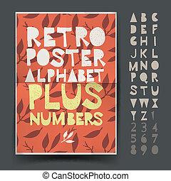Retro alphabet for art and craft poster's design