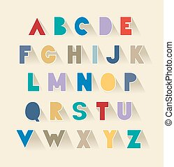 retro alphabet set with shadows. extra bold fat capital letters as cut out paper