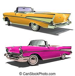 retro, altes , auto, mit, ein, rgeöffnete, top., convertible., freigestellt, auf, a, weißes, hintergrund., render., 3d.