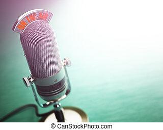 retro, altes , mikrophon, mit, text, auf, der, luft., funken show, oder, ton, podcast, concept., weinlese, microphone.