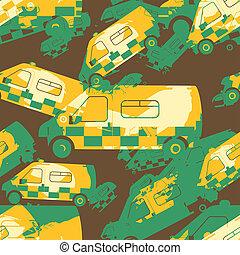 Retro Ambulance Pattern Print