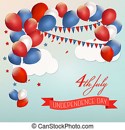 Retro american background with colorful balloons for 4th of July