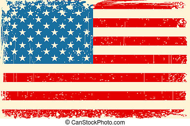 Retro American Flag - illustration of American Flag with...