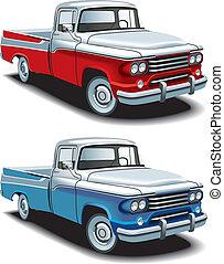 retro american pickup - Vectorial icon set of American retro...