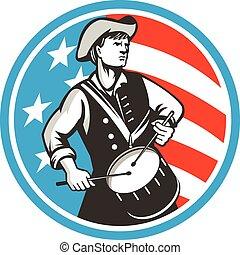 retro, americano, stati uniti, patriota, cerchio, bandiera, tamburino