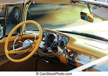 retro, amerikaan, auto binnenkante