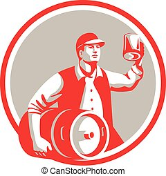 retro, amerikan, öl, kagge, cirkel, rostat bröd, arbetare, ...