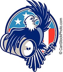 retro, amerikan örn, öl, kagge, cirkel, flagga, skallig