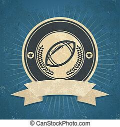 retro, amerikansk fotboll, emblem