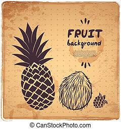 retro, ananas, illustrazione