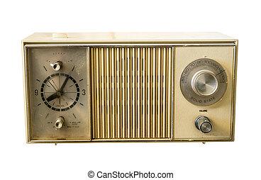 Retro ancient plastic clock radio