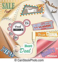 Retro and vintage paper sale elements eps10 vector illustration