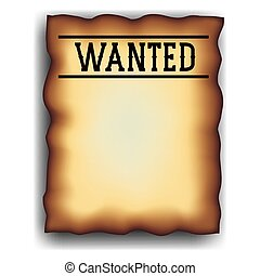 Retro and vintage wanted poster design - Wanted paper poster...