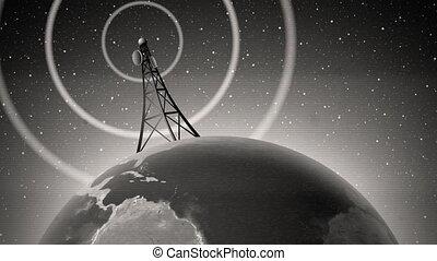 retro, antena, transmitowanie, sygnał