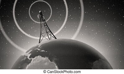 An old-fashioned graphic of an antenna transmitting a signal around the world, with audio. Contains film dust and scratches, television signal interference/scan lines, and slight picture shake. Modern, color version also available. Easily loopable if you trim off the beginning. Earth map credit: ...