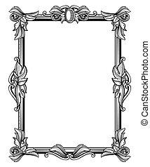 Retro, antique baroque border frame with scroll ornaments vector illustration