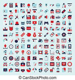 retro, apartamento, rede, ícone, jogo