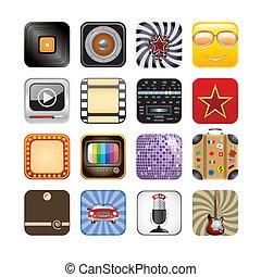 retro, app, ícones